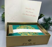 Tv Allen Co. Green Gold Embossed Christmas Cards, Wreath, Musical Instruments, N