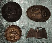 Four Rare And Vintage Belt Buckles - Mickey Mouse - Batman - Rca Victor - Popeye