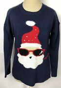 United States Sweaters Womenandrsquos Sz Small Santa Ugly Christmas Sweater Navy Blue