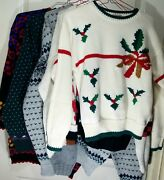 Wholesale Lot Of 6 True Vintage Ugly Christmas Sweater Party 3-d Stockings Cats