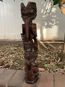 """Hand Carved Wood Totem Pole By Rick Williams 19 1/2"""" Mosquito Wolf Beaver"""
