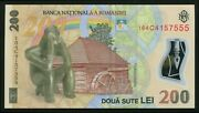 I492 Romania 200 Lei 2006 2016 Polymer Note Unc Lucky Number 555 Uncirculated