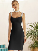 New Designer Couture Black Crystal Jeweled Bodycon Dress W/ Matching Choker