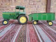 Vintage Ertl John Deere Tractor With Hitch And Wagon Restore Or Parts