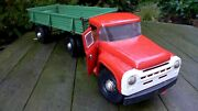 Vintage Xl Metal Transport Truck And Trailer Toy Home Playroom Dandeacutecor Collector