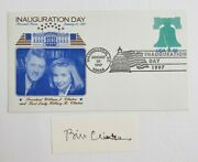 President Bill Clinton Signed Cut Autographed 1x3 With 97 Inauguration Day Cover