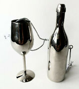 Crate And Barrel Silver Tone Metal Christmas Tree Ornaments 2 Wine Glass Bottle