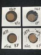 4 Pc Lot Indian Head Pennies 1867-1874