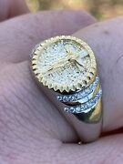 Mens Solid 925 Sterling Silver And 14k Yellow Gold Coin Ring Jesus On Cross Nugget