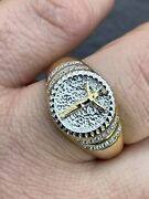 Mens 14k Yellow Gold Over Solid 925 Sterling Silver Coin Ring Jesus Cross Nugget