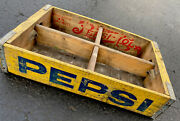 Vintage Drink Yellow Pepsi Wood Soda Pop Crates Lot Red Graphics Inside
