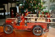 Antique Folk Art Wood And Metal Fire Truck 3 Man Crew Huge And Heavy Rare Ca.1930