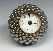 Antique 14k Gold And Seed Pearls Ball Pocket Watch Pendant