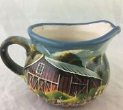 Decorative Creamer/jug Art Pottery Hand Painted Scenic Old Barn Artist Signed