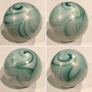 Eye Candy Signed 1988 Gibson White And Green Iridescent Art Glass Paperweight