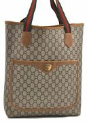 Auth Gg Plus Web Sherry Line Shoulder Tote Bag Pvc Leather Brown B2580