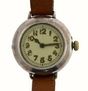 Silver Patent Trench Watch Double Case Ww1 Period 1914 Untouched On Old Strap