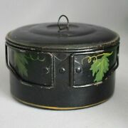 Rare Vintage Tole Hand Painted Tin Toleware Lunch Box Pail Child's Berry Bucket