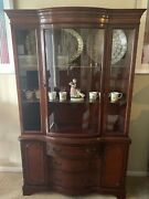 Beautiful Antique Curved Glass Mahogany Cabinet - Display Or China From 1920