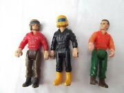 Vtg Lot 3 Tootsie Toy Male Motorcycle Man Scuba Diver Action Driver Figurine