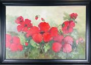 Mariel Chapot Large Vintage 1950s French Mod Floral Still Life Oil On Canvas