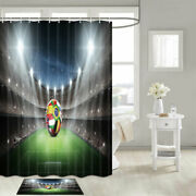 Football Field And World Cup Shower Curtain Bathroom Decor Fabric 12hooks 71in