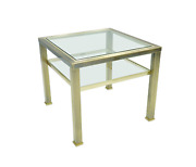 Brass And Glass Side Table In Style Of Maison Jansen France 70s Tisch Glas 70er