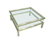 Brass And Glass Coffee Table With Sliding Top Maison Jansen 70s Tisch 70er Glas