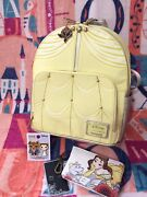 Disney Beauty And The Beast Belle's Dress Loungefly Backpack And Cardholder And Pins