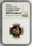 1994 Israel Wildlife Gold 5 New Sheqalim Palm Tree And Leopard Ngc Pf69ucam