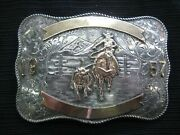 1957 Calf Roping Sterling And 10k Rodeo Buckle - Rustic Ranch Scene