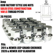 20 Chrome Oem Factory Style Lug Nuts M14x1.5 For Jeep Grand Cherokee Gladiator