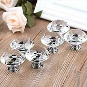 40mm Diamond Shape Crystal Glass Knob, 6 Pieces, Clear Cabinet Hardware Tools And