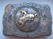 Rare N.porter And Mccabe Silversmiths Sterling 10k Bucking Horse Buckle - Patina