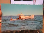 Vintage Old Postcard Maine Lobstering Lobster Fishing Men In Boat Traps And Cages