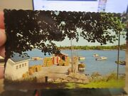 Vintage Old Postcard Maine Friendship Lobster Wharf Shanty Cages Traps Boats Rig