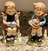 Set Of 2 Erich Stauffer Figurines Boy And Girl Sitting On Log Free Shipping