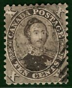 Colony Of Canada Qv Stamp Sg.33 10c Black-brown 1859 Albert Fu Cat Andpound2500 Yblue97