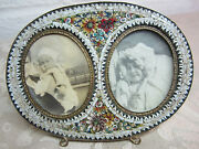 Antique Micro Mosaic Oval Double Picture Frame Ornate Flowers Petals Baby Pics