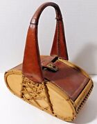 Hand Bag Purse Old Vintage Picnic Basket Style With Leather Vhtf