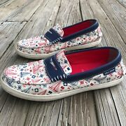 Cole Haan Grand Os Nautical Sailboat Canvas Penny Loafers Boat Shoes Menand039s 9.5 M