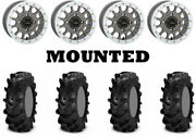 Kit 4 Itp Cryptid Tires 32x10-15 On System 3 Sb-5 Beadlock Matte Gray White Can
