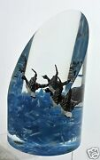 Vintage Lucite Sculpture Or Huge Paperweight W/ Blue Waves And Duck Birds