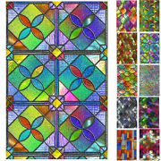 Static Cling Frosted Stained Glass Window Door Film Sticker Privacy Home Decor