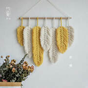 New 2021 Hot Sale Hand-made Macrame Wall Hanging Feather Cotton Woven Leaves