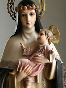 St Rose Of Lima Holding The Holy Infant Christ Statue 36.8 Glass Eye Spain