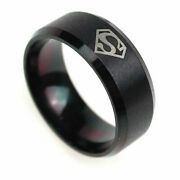 8mm Superman Stainless Steel Band Ring Event Party Logo Black