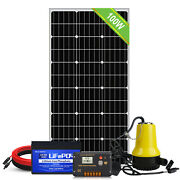 Solar Panel Water Pump System Deep Well Submersible Pump+backup Lifepo4 Battery