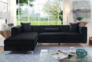 Classic Casual Left Chaise Sofa Sectional Modern Living Room Furniture Black