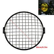 1pc Metal Motorcycle Headlight Lamp Mesh Grille Cover Square Mask For Cafe Racer